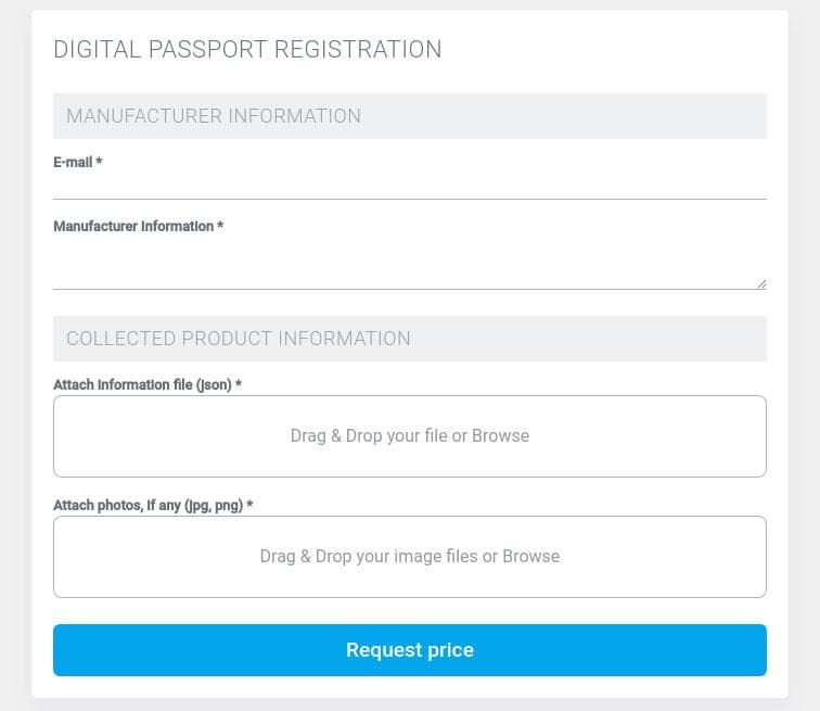 Digital passport registration applying form