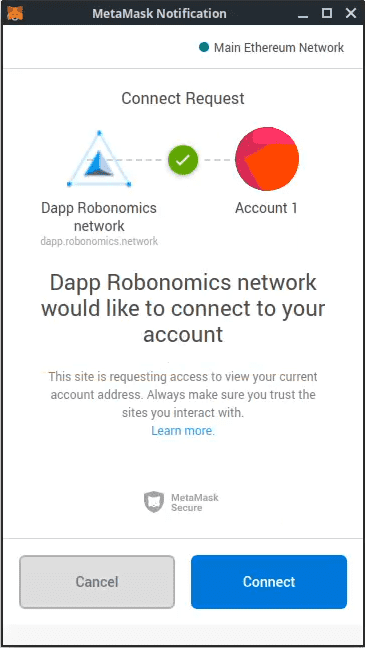 """Connection to Robonomics dApp via Metamask"""